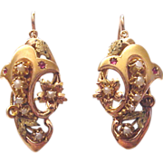 European Victorian  14 Kt. Two Toned Gold Earrings with Gem Stone and Half Pearl Accent - Circ