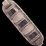 Theodor Fahrner Sterling, Hematite, Rock Crystal and Marcasite Bar Pin - Circa 1930