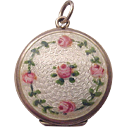 Sterling and Guilloche Enamel Locket with Two Photo Compartments - Circa 1925