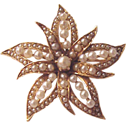 14 Kt. Yellow Gold Flower Pin / Pendent with Cultured Pearls - Circa 1890