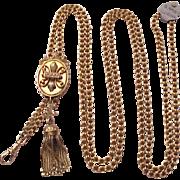 Victorian Etruscan Revival 14 Kt. Ladies Watch Chain - Circa 1890