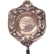 Sterling Art Nouveau Tea Strainer with Wood Handle - Circa 1910