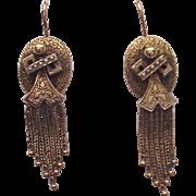 Victorian 14K. Gold Etruscan Revival Earrings - Circa 1875