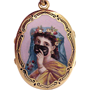 18Kt. Gold Hand Engraved Accented Locket with a Hand Painted Enamel Portrait - Circa 1850
