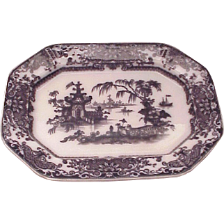 REDUCED PW & Co. Transfer Ware Corean Pattern Mulberry Platter - Circa 1845