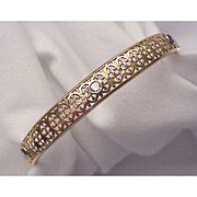 14 Kt. Gold & Sapphire, Diamond Bangle Circa 1905
