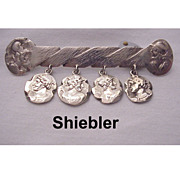 George W Shiebler Sterling Medallion Pin - Circa 1890
