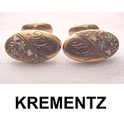 Krementz 14kt. Gold Cuff Links with Enamel Forget Me Nots - Circa 1900