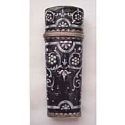 French Limoges Enamel and Silver Scent Bottle - Circa 1880