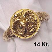 Rare 14 kt. Gold Art Nouveau Locket Bracelet with Gemstone Accent - Circa 1910