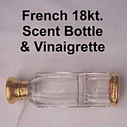 French 18 Kt. Gold Scent And Vinaigrette Bottle - Circa 1870