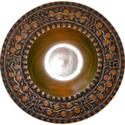 Turned Wood Brass Inlay Bowl