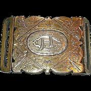 Romantic Era Victorian 9K Yellow Gold & Sterling Engraved Belt Buckle