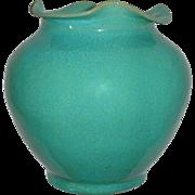 Rare North Carolina Royal Crown Pottery & Porcelain Company Aqua Blue Vase With Ruffled Li