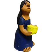 Vintage Mexican Folk Art Pottery Girl With Yellow Basket signed by Josefina Aguilar