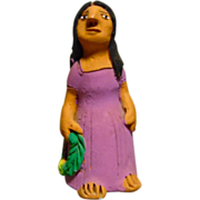 Vintage Mexican Folk Art Pottery Girl With a Wreath signed by Josefina Aguilar