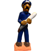 """Vintage Mexican Folk Art Pottery Policeman """"Federales"""" with a stick signed by Josefi"""
