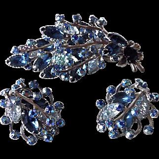 SALE Vintage Blue Rhinestone Demi Parure Brooch & Earrings Set