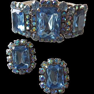 SALE Brilliant Blue Vintage Rhinestone Clamper Bracelet & Earrings Demi Parure