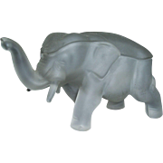 Satin Glass Elephant Covered Candy Dish Indiana Glass Dunlavy Glass