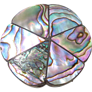 Vintage MEXICO Sterling Silver Abalone Trinket Snuff Pill Box