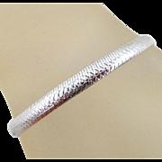REDUCED Estate 14K Italian White Gold Etched Swirls Herringbone Bracelet