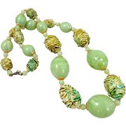 REDUCED Vintage Lucite Molded Flowers Summer Green Necklace