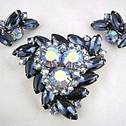 REDUCED Vintage WEISS Blue Rhinestone Brooch Pin & Earrings