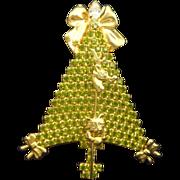REDUCED ANTHONY ATTRUIA Peridot Rhinestone Kitten & Bows Christmas Tree Pin