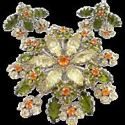 REDUCED Vintage Large SCHREINER Inverted Unfoiled Rhinestone Floral Brooch & Earrings