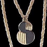 MOD Trifari Goldtone, Black Necklace - Chic Double Chain
