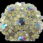 Crown Trifari Rhinestone Pin, Earrings - Citrine & Aurora Borealis