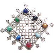 Fab Accessocraft NY Medieval Style Pendant - Natural Stones