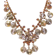 Spectacular Juliana Necklace, Earrings Bronze Beads, Topaz Chatons - Book Piece