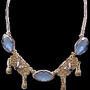 Fabulous Art Deco Czech Necklace - Blue Glass & Enamel