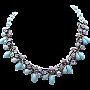 03 - Lovely Florenza Aqua Art Glass & Rhinestone Necklace, Earrings