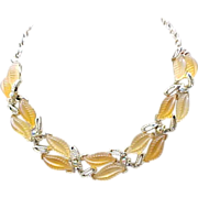 Molded Glass Necklace,  Earrings - AB Rhinestones - Peach & Apricot - Fruit Salad