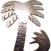 Sterling Silver Palm Tree Pin with Ocean Wave