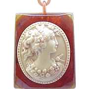 Spectacular Bakelite Necklace & Bracelet with Celluloid Cameo