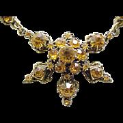 Sparkling Amber Rhinestone Necklace - Like Hollycraft