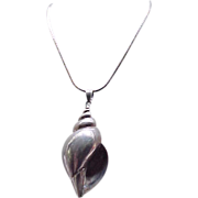 Impressive Sterling Silver Sea Shell Pendant Necklace on Sterling Chain