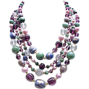 4 Strand Necklace Glass Beads - Purple, Blue, Pink, Green - Gorgeous