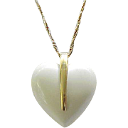 Big Lucite Heart Pendant Trifari - Cream