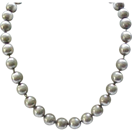 sterling silver bead necklace like navajo pearls