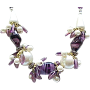 SALE Stunning Necklace Purple Venetian Glass Beads, Faux Pearls - Matching Earrings - Runway