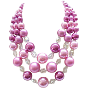 3 Strand Moonglow & Crystal Necklace - Shades of Pink - Gorgeous
