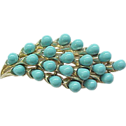 Lovely Trifari Turquoise Pin & Earrings