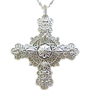 Crown Trifari Silvertone Filigree Cross Necklace