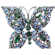 Sparkling Blue & Green Rhinestone Butterfly Pin