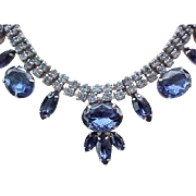 Sapphire Blue Rhinestone Necklace, Bracelet, Earrings - Outstanding